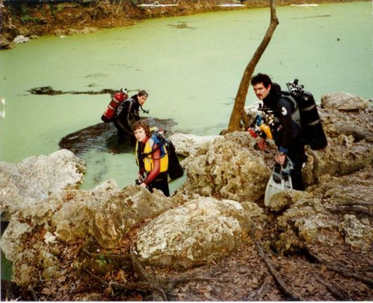 Howard & Justin-age 12-& friend Eric-in water-Scuba Diving orange grove sink-Florida-1990